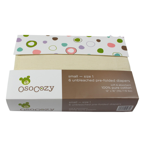 OsoCozy Unbleached Prefolds - Packaged